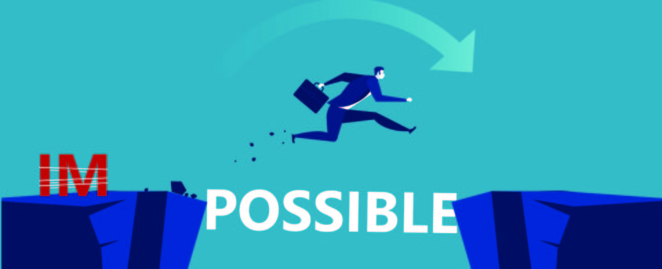 Graphic showing a man breaking the schackles of impossible to leap over a chasm.